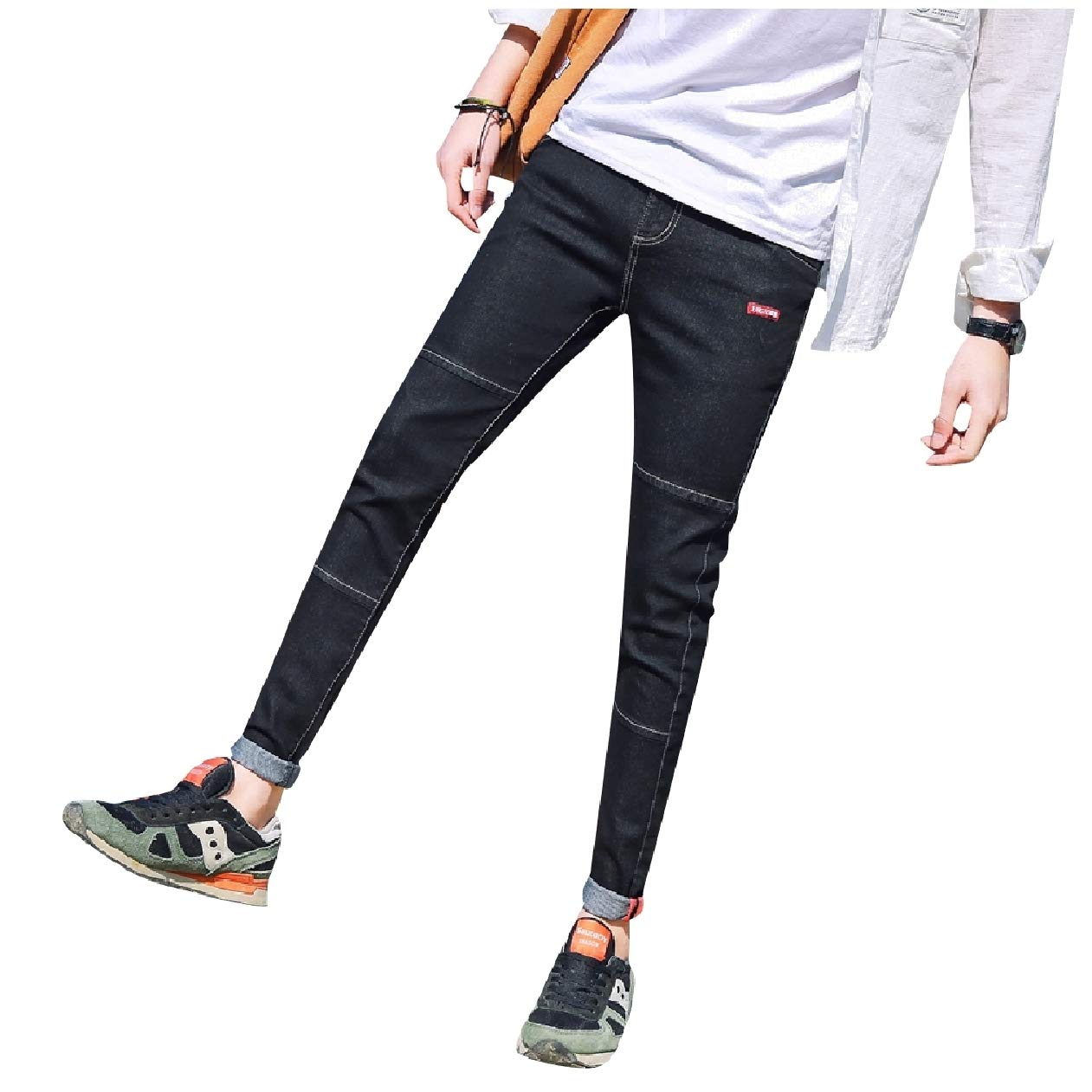 Tootless-Men Simple Juniors Patched Middle Waist Denim Pants Jeans