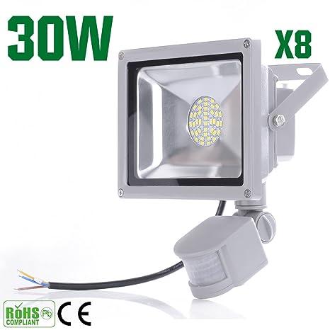 8 piezas 30 W SMD PIR Sensor de movimiento de pared de LED lámpara de luz
