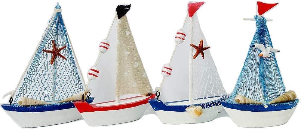 Grace Home Decorative Wooden Sailboat Model Handmade Vintage Nautical Decor Sailing Boat Decoration