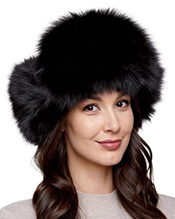 frr Womens Black Fox Fur Excursion Trapper Hat with Pom Pom at ... 3756555d934