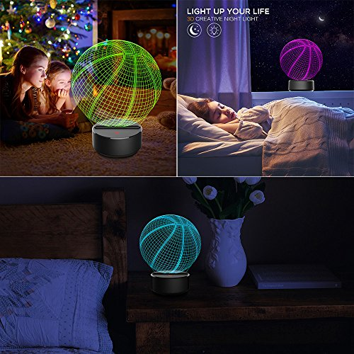 (3D Music Visualization 7 Colors Change Optical Illusion Led Touch Sensor Lamp Atmosphere Bedside Lamp for Home Décor,Children Friend Gift)