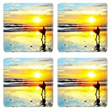 Liili Square Coasters Non-Slip Natural Rubber Desk Pads IMAGE ID: 28076312 Surfer walking with surfboard on the ocean beach at sunset Bali island Indonesia