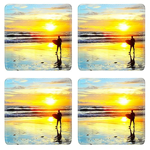 Liili Square Coasters Non-Slip Natural Rubber Desk Pads IMAGE ID: 28076312 Surfer walking with surfboard on the ocean beach at sunset Bali island Indonesia by Liili