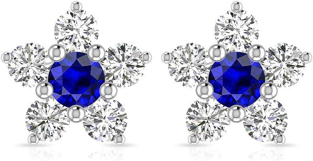 Aretes vintage de zafiro azul certificado IGI, oro de 14 quilates en forma de estrella, pendientes de aniversario de piedra de nacimiento de septiembre, regalo para ella, tornillo hacia atrás