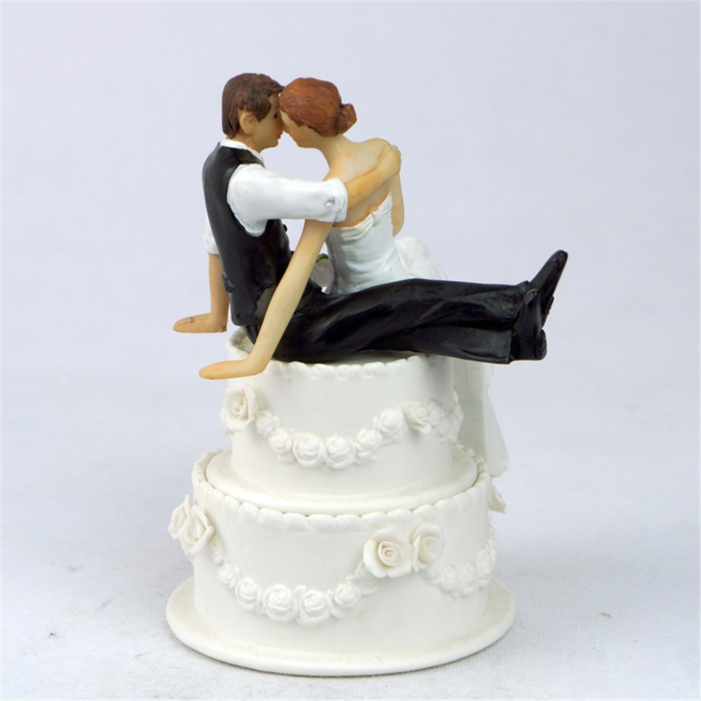 Amazon.com: Derker Wedding Cake Topper Love Bride and Groom Figurine ...
