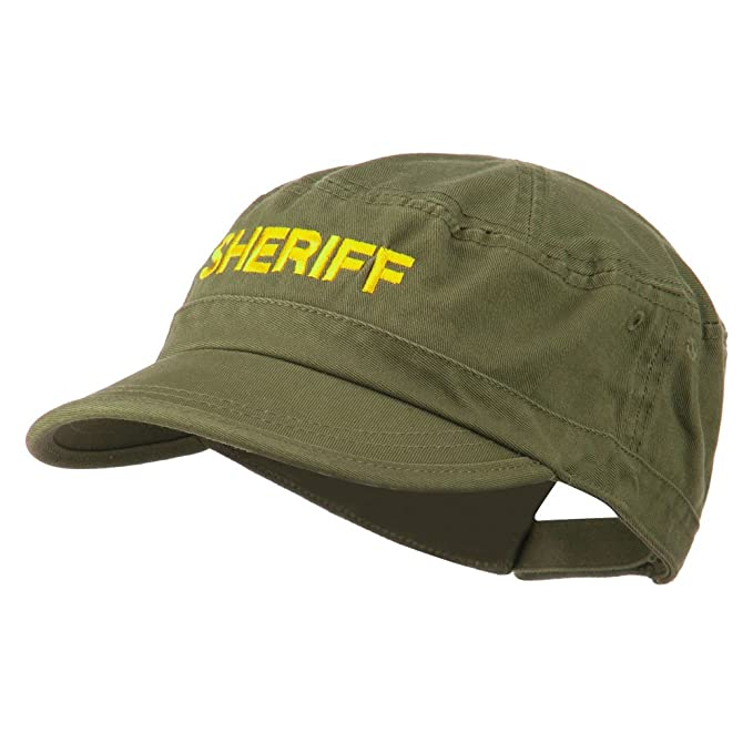733dac44dce Sheriff Embroidered Enzyme Army Cap - Olive OSFM at Amazon Men s ...