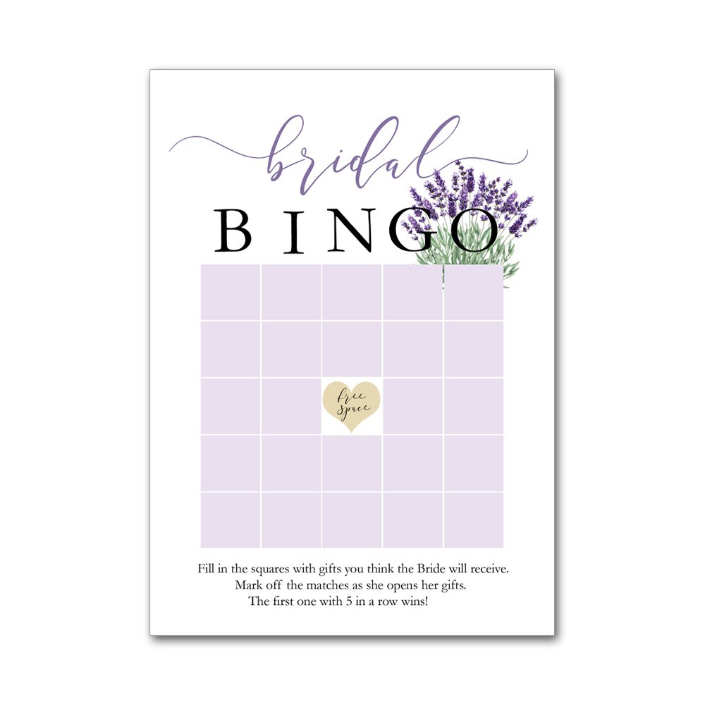 Bingo Game Cards for Bridal Wedding Showers with Watercolor Lavender Flowers BBG8009
