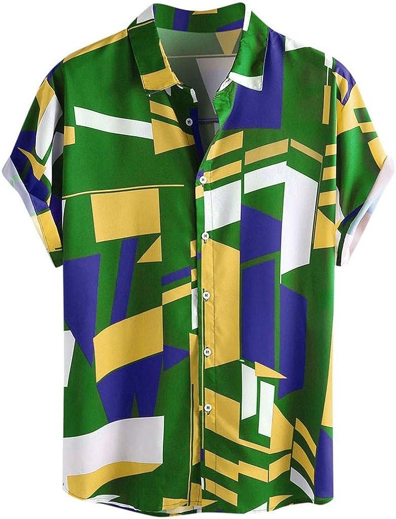 Mens Contrast Color Geometric Print Button Down Collar Short Sleeve Loose Shirts Summer Top Beach Blouse Tee