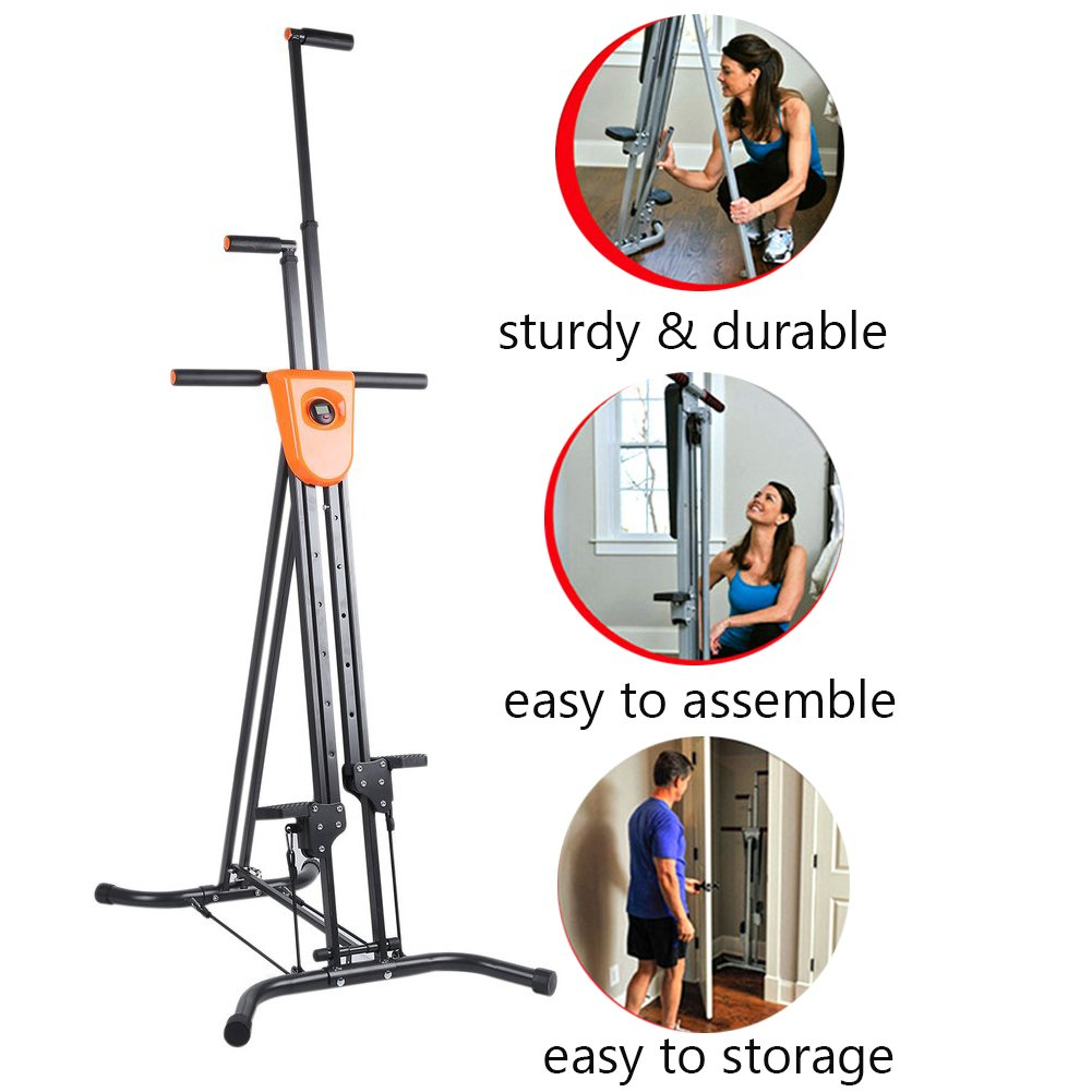 Vertical Climber with Cast Iron Frame and Digital Display As Seen On TV | Full Total Body Workout Fitness Folding Cardio Climber Exercise Machine (2 Extra Resistance Straps Included) by OUTAD (Image #6)