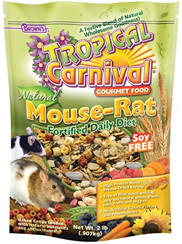 F.M. Brown's Tropical Carnival Natural Pet Mouse and Rat Food, Vitamin-Nutrient Fortified Daily Diet, Soy-Free High Protein Blend with Shrimp, NO Artificial Colors or Flavors, 2lb