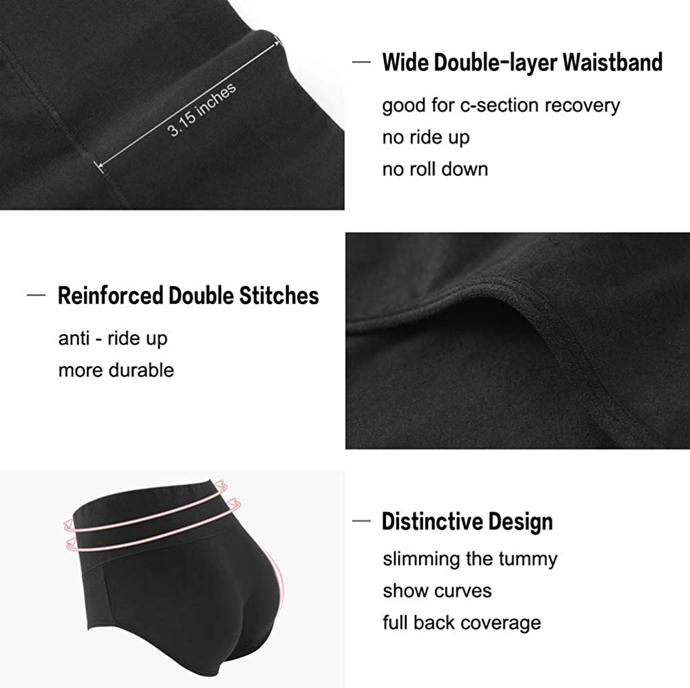 9a03d0ecd9d4 Innersy Women's 5 Pack High Waist Solid Color Tummy Control Cotton  Underpants Briefs (Love Yourself. Back. Double-tap to zoom