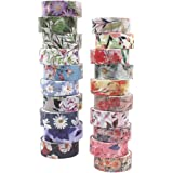 Washi Tape Floral Pack - 20 Rolls Japanese Flower Tape with 0.6 inch Wide x 4.4 Yard Long, Suit for Arts, Journal, Nail…