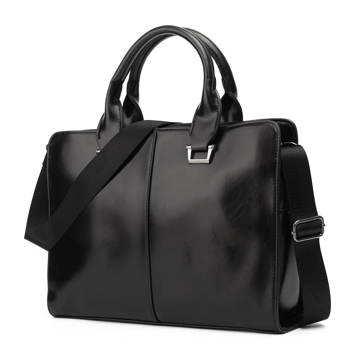 OURBAG Porte-documents en cuir pour hommes Sac à bandoulière Messenger Bag Sac à bandoulière Noir Moyen OURBAGwolzenfr27