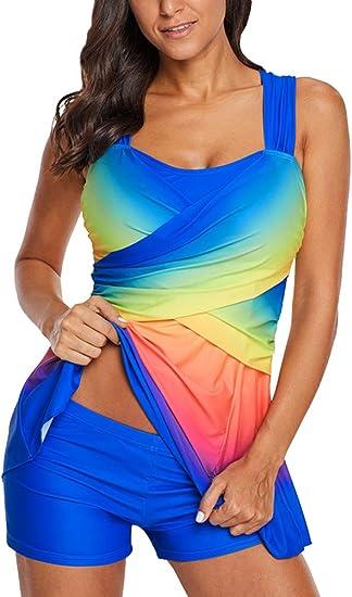 Minetom Femmes /Ét/é Tankini Top Shorty Maillots Deux Pi/èces Double Up Bikini Set Rembourr/é El/égant Maillot De Bain Triangle Beachwear