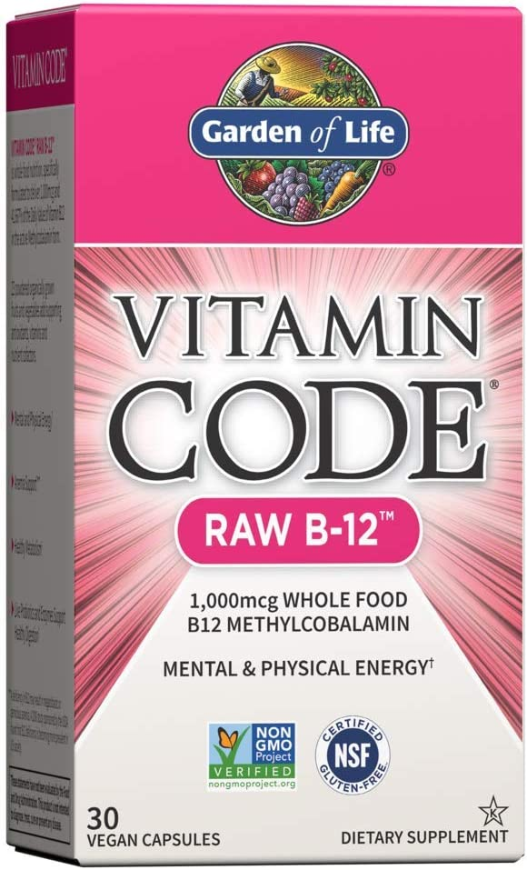 Garden of Life Vitamin B12 - Vitamin Code Raw B12 Whole Food Supplement, 1000 mcg, Vegan, 30 Capsules *Packaging May Vary*