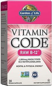 Garden of Life B12 - Vitamin Code Raw B-12 - 30 Capsules, 1,000mcg Whole Food B12 Methylcobalamin for Energy, Vegan Methylcobalamin B12 Vitamin plus Probiotics and Enzymes, Gluten Free Supplements