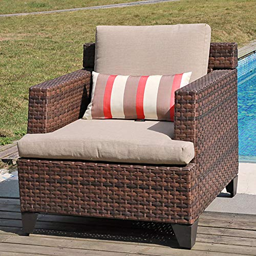 SUNSITT Outdoor Wicker Chair Single Sofa Patio Garden Furniture Armchair with Beige Olefin Cushions, Brown