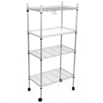 J.S. Hanger 4 Tier Adjustable Wire Shelving Rack Rolling Storage Shelf,  Silver