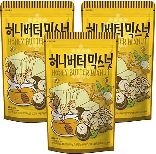 [3個セット]ハニーバターミックスナッツ220gX3袋ナッツアーモンドカシューナッツマカダミアクルミおつまみお土産韓国食品定番お得