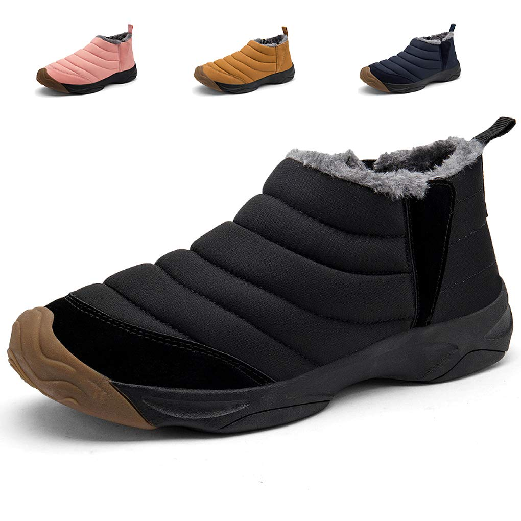 Yooabc Men's Snow Boots Women Winter Anti-Slip Ankle Booties Lightweight Slip On Warm Fur Lined Sneaker