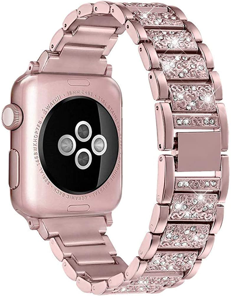 hooroor Bling Bands Compatible with Apple Watch Band 38mm 40mm/42mm 44mm Series 5/4/3/2/1, Stainless Steel Metal Diamond Rhinestone Cuff Bracelet Wristband Strap for Women iWatch Band Accessories