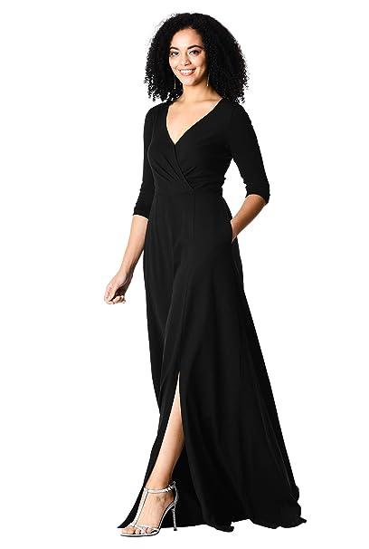 6fc52824ce78 eShakti Women's Vented front cotton knit surplice maxi dress: Amazon.co.uk:  Clothing