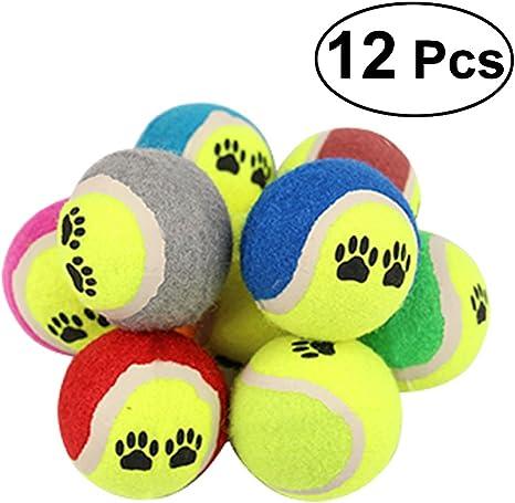 UEETEK 12 unidades 6,5 cm Minipelota de tenis para mascotas ...
