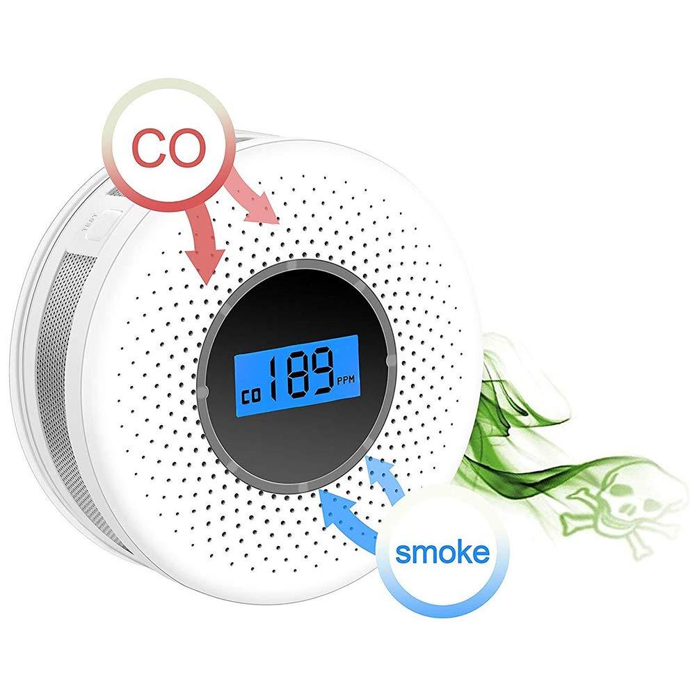 Bweele D/étecteur de gaz D/étecteurs de fum/ée 2 en 1 D/étecteur de monoxyde de Carbone D/étecteur de monoxyde de Carbone Alarmes D/étecteur de CO pour Home Restaurant Restaurant H/ôtel blanc