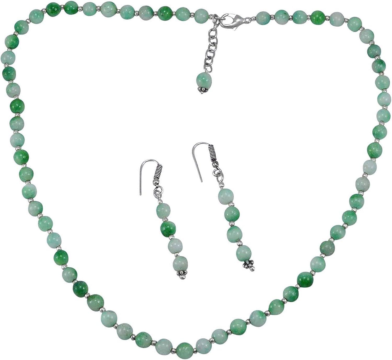 Hecho a Mano Fabricante de joyería de Plata de Ley 925, con Cuentas de Cuarzo Verde, Collar de Gancho de Langosta, Pendientes Colgantes Jaipur Rajasthan India