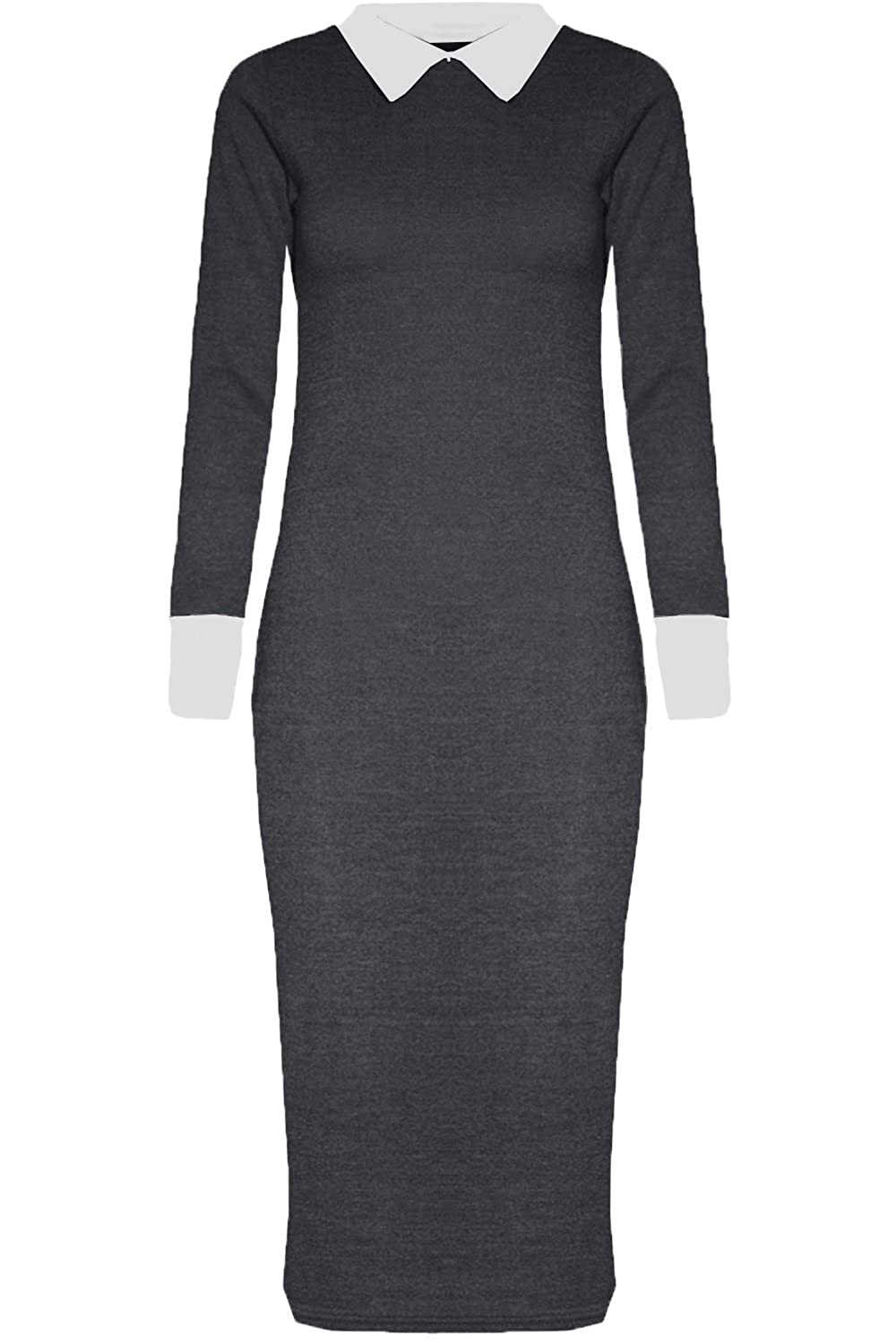 Black dress with white peter pan collar - New Womens Peter Pan Collar Long Bodycon Midi Dress At Amazon Women S Clothing Store