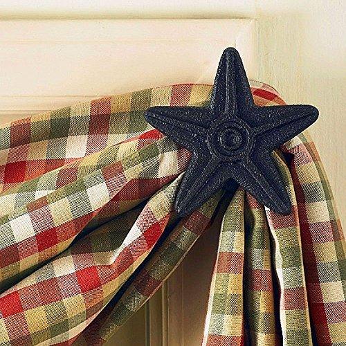 Park Designs Cast Star Curtain Hooks, Black, Set of 2 (Curtain Star Shower Hooks)