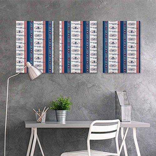 Oil Painting Modern Wall Art Posters sticker,Compass Ocean Cruise Sailing Route Yatching Club Icons on Vertical Navy Borders,for Home Decoration Wall Decor 3 panels,24x47inchx3pcs Navy Blue Red White]()
