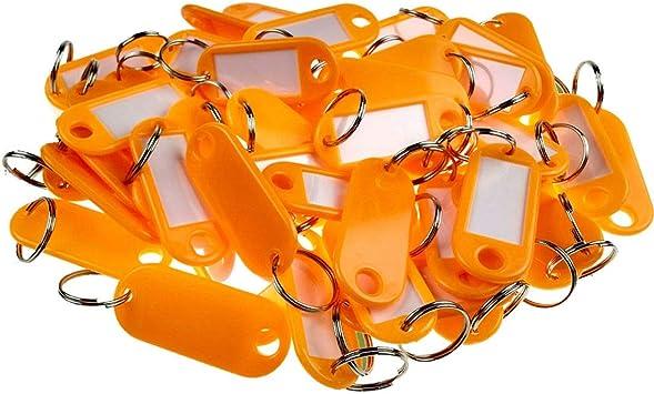 Schlüsselanhänger//Schlüsselschilder mit Ring Beschriftungsfeld 50 Stück orange