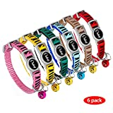 Didog 6 Pcs Safety Cat Collars,Breakaway Cats Collars with bells,Adjustable 7-10.5''