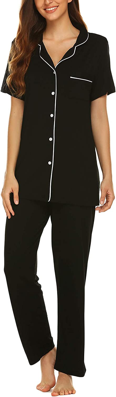 Avidlove Women Pajamas Set Notch Collar Soft Sleepwear Pjs Short Sleeve Button Down Nightwear with Long Pants