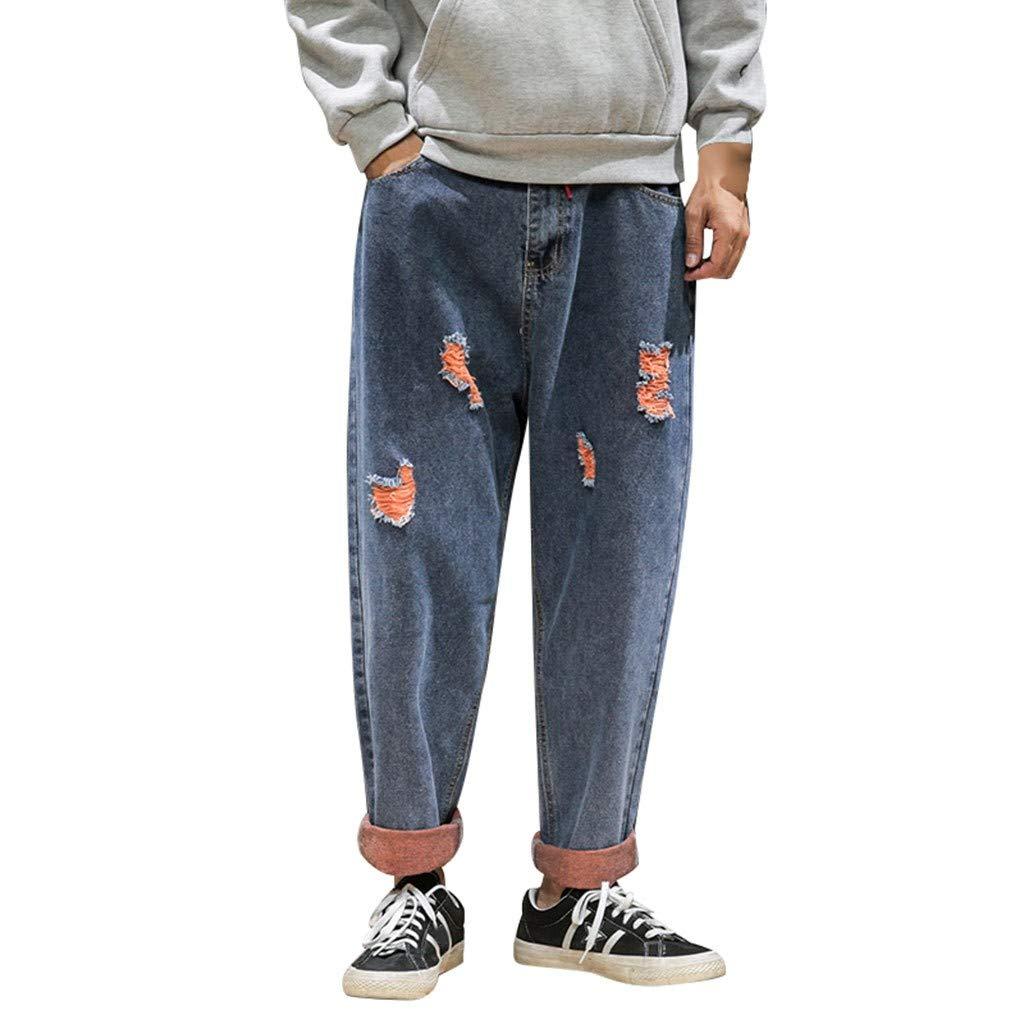 Pantaloni Uomo Jeans Slim Fit,Uomo Jeans Skinny Stretch Nero Pantaloni Skinny Denim Strappati A Vita Alta Handsome Cool