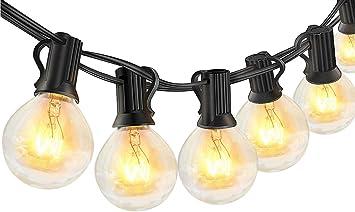 Oferta amazon: Guirnaldas luminosas de exterior,LECLSTAR G40 Cadena de Luces 10m con 30+3(Bombilla de Repuesto) Vintage Edison Incandescentes IP44 Impermeable Perefcto para Fiesta,Boda,Jardín Patio Cafe           [Clase de eficiencia energética A++]