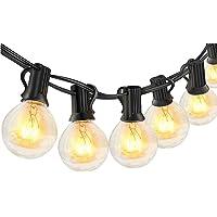 Guirnaldas luminosas de exterior,LECLSTAR G40 Cadena de Luces 10m con 30+3(Bombilla de Repuesto) Vintage Edison…