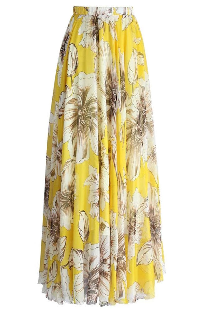 Pretchic Women's Summer Boho Floral Print Pleated Chiffon Long Maxi Skirt Dress Yellow X-Large