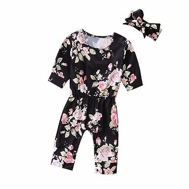 Robemon Vêtements Bébé🌟Combinaison à imprimé Fleurs et Bandeau pour Filles  6-24 Mois c762977fe04