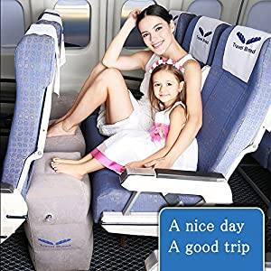 inflatable travel footrest leg rest travel pillow kids bed to lay down flat on flights gray