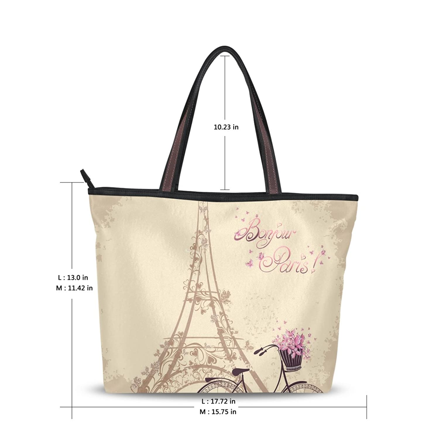 Women Large Tote Top Handle Shoulder Bags Eiffel Tower Ladies Handbag