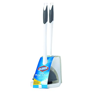 Clorox Toilet Plunger and Brush Combo, White, 2 Piece