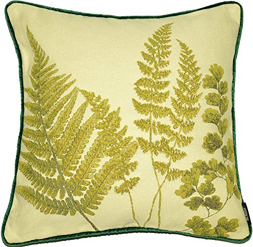 McAlister Woven Tapestry Mixed Fern Filled Pillow | Green Embroidered 16x16 Toss Cushion | Textured Linen, Crewel Needlepoint Plant Leaf | Nature Botanical Accent (Needlepoint Chair Pad)