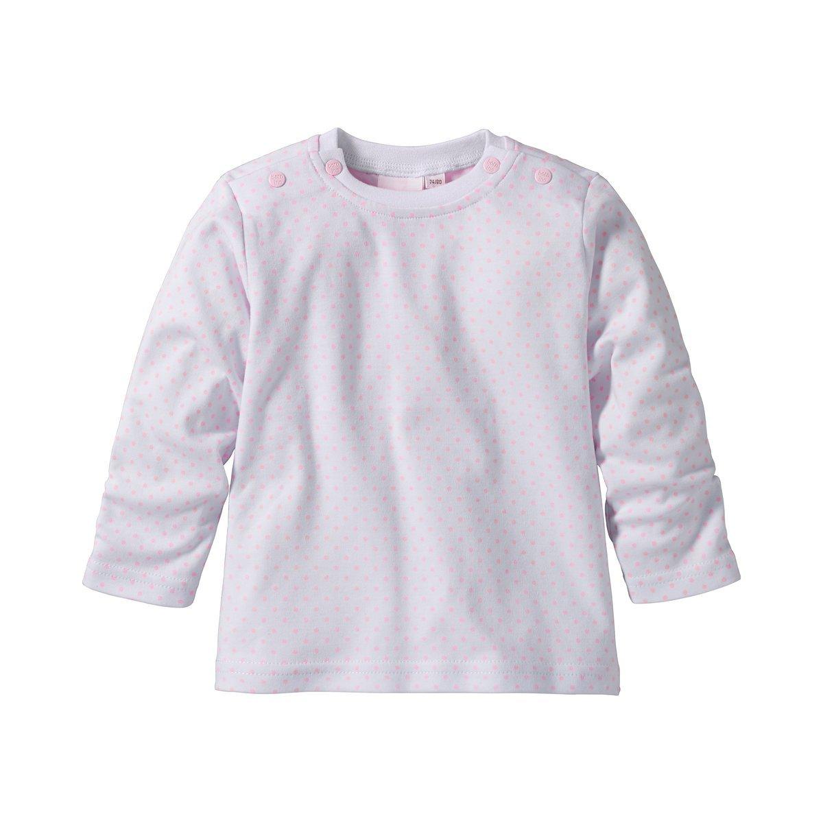 Bornino Langarmshirt 100/% Baumwolle mit Punkten wei/ß//ros/é M/ädchen