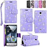 sharp phone - Sharp Aquos Crystal - Cellularvilla Pu Leather Wallet Card Flip Open Pocket Case Cover Pouch For Sharp Aquos Crystal 306SH (Purple Glitter)