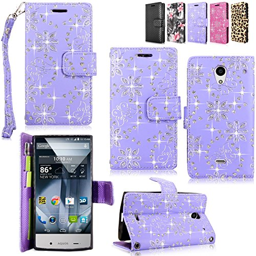 Sharp Aquos Crystal - Cellularvilla Pu Leather Wallet Card Flip Open Pocket Case Cover Pouch For Sharp Aquos Crystal 306SH (Purple Glitter) (Purple Sharp Aquos Crystal Case compare prices)
