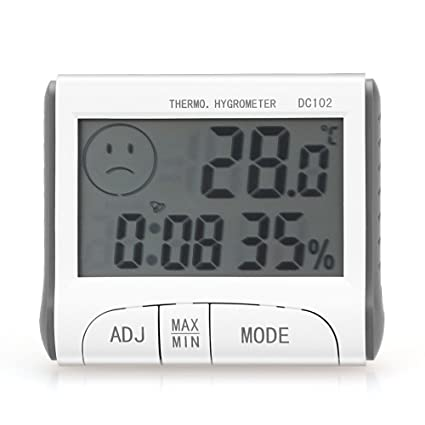 Digital termómetro higrómetro, Canal tiempo termómetro, termómetro humedad Monitor con alarma reloj, tiempo