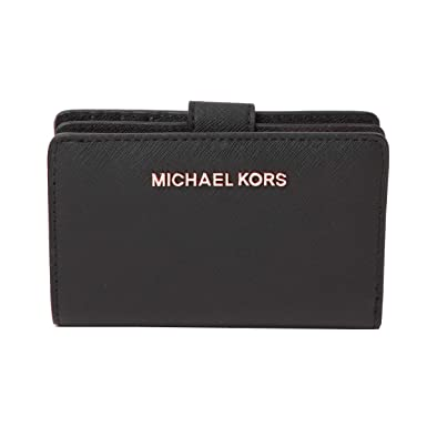 Michael Kors Jet Set Travel Bifold Zip Coin Wallet - Black ...