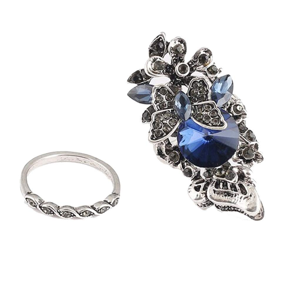 Iskylie Retro Sapphire Amethyst Inlay Butterfly Ring Engagement Jewelry Wedding Ring for Women(Two - Piece)(Blue, L9)